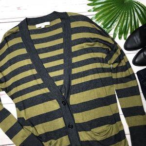 {Loft} sz XL striped thin knit boyfriend cardigan